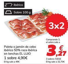 Oferta de Paleta o jamón de cebo ibérico 50% raza ibérica en lonchas EL LUJO por 4,9€