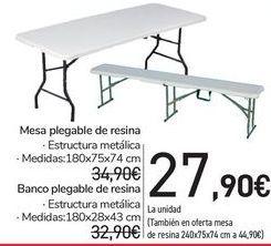 Oferta de Mesa plegable de resina  por 27,9€