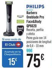 Oferta de Barbero Oneblade Pro Face&Body QP6620 PHILIPS por 75€