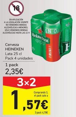 Oferta de Cerveza HEINEKEN por 2,35€