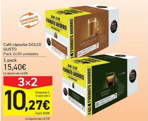Oferta de Café cápsulas DOLCE GUSTO por 15,4€