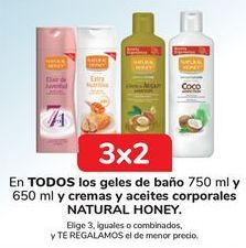 Oferta de En TODOS los geles de baño y cremas y aceites corporales NATURAL HONEY  por
