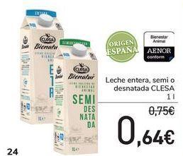 Oferta de Leche entera, semi o desnatada CLESA por 0,64€