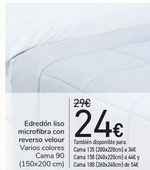 Oferta de Edredón liso microfibra con reverso velour  por 24€