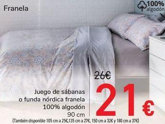 Oferta de Juego de sábanas o funda nórdica franela 100% algodón  por 21€