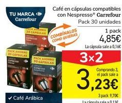 Oferta de Café en cápsulas compatibles con Nespresso Carrefour por 4,85€