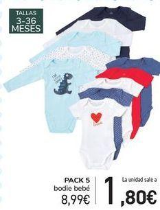 Oferta de PACK 5 bodies bebé  por 8,99€