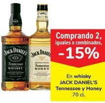 Oferta de En whisky JACK DANIEL'S Tennesse y Honey  por