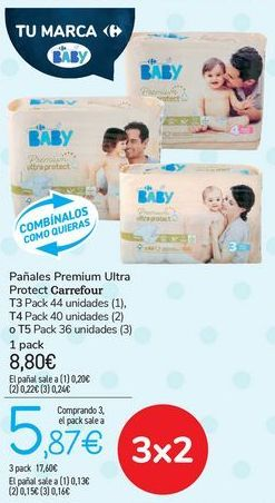 Oferta de Pañales Premium Ultra Protect Carrefour  por 8,8€