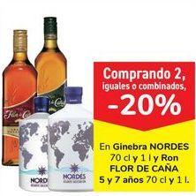 Oferta de En ginebra NORDES y Ron FLOR DE CAÑA 5 y 7 años  por