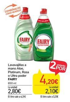 Oferta de Lavavajillas a mano Aloe, Platinum, Rosa o Ultra poder Fairy por 2,8€