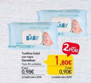 Oferta de Toallitas bebé con tapa Carrefour por 0,98€