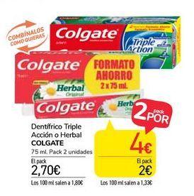 Oferta de Dentífrico Triple Acción o Herbal Colgate por 2,7€