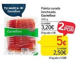 Oferta de Paleta curada loncheada Carrefour por 3,2€