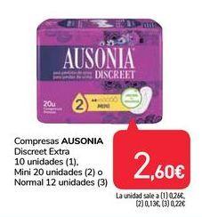 Oferta de Compresas Ausonia por 2,6€