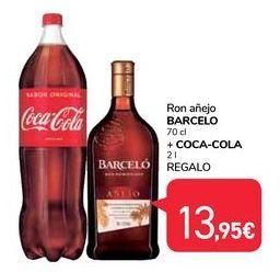 Oferta de Ron añejo Barceló 70 cl + Coca-Cola 2 l Regalo por 13,95€