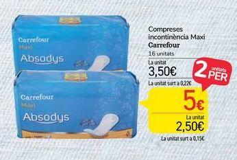 Oferta de Compresas incontinencia Maxi Carrefour por 3,5€