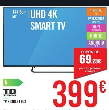 "Oferta de TV 58"" UHD 4K SMART TV K58DLX11US TD SYSTEMS por 399€"