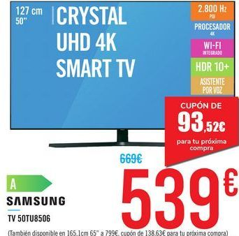 "Oferta de TV 50"" CRYSTAL UHD 4K SMART TV 50TU8506 SAMSUNG por 539€"