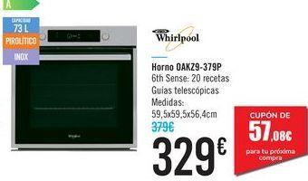 Oferta de Horno OAKZ9-379P Whirlpool por 329€
