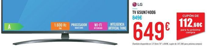 "Oferta de TV 65"" 65UN74006 LG por 649€"