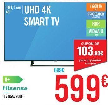 """Oferta de TV 65"""" UHD 4K SMART TV 65A7300F Hisense por 599€"""