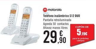 Oferta de Teléfono inalámbrico S12 DUO MOTOROLA por 29,9€