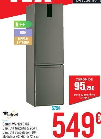 Oferta de Combi W7 9210 0X Whirlpool por 549€