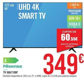 """Oferta de TV 50"""" UHD 4K SMART TV 50A7100F Hisense por 349€"""