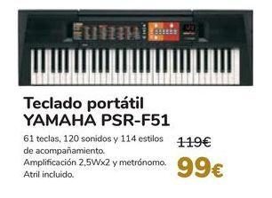 Oferta de Teclado portátil YAMAHA PSR-F51 por 99€
