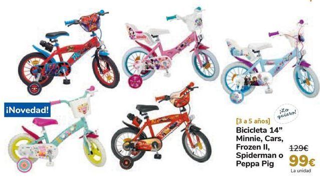 Oferta de Bicicleta 14'' Minnie, Cars, Frozen II, Spiderman o Peppa Pig  por 99€