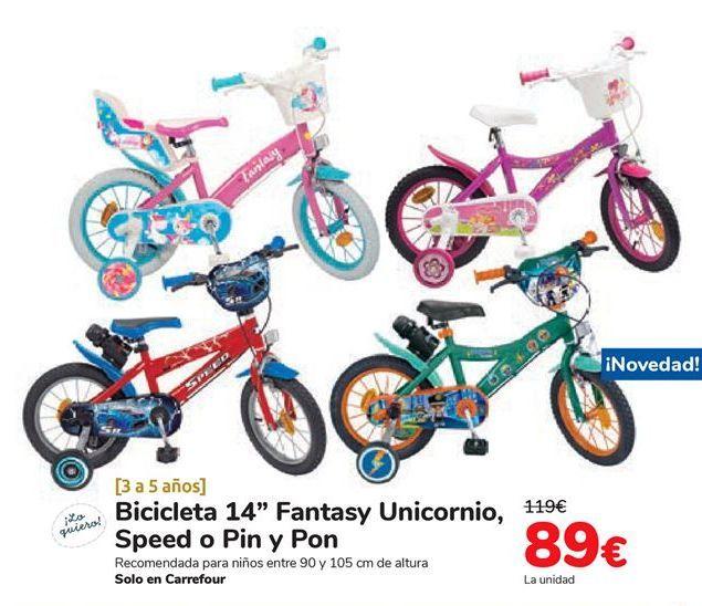 Oferta de Bicicleta 14'' Fantasy Unicornio, Speed o Pin y Pon  por 89€