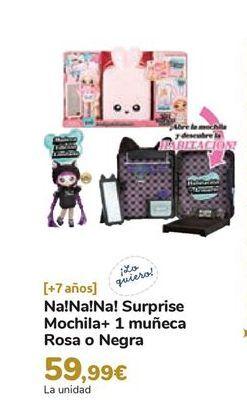 Oferta de Na!Na!Na! Surprise Mochila+ 1 muñeca Rosa o Negra por 59,99€