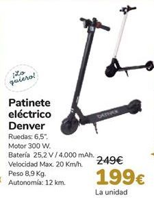 Oferta de Patinete eléctrico Denver  por 199€
