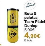 Oferta de Bote 3 pelotas Team Pádel Dunlop  por 4,9€