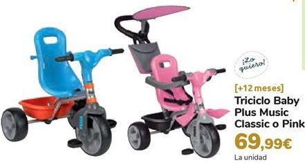 Oferta de Triciclo Baby Plus Music Classic o Pink por 69,99€