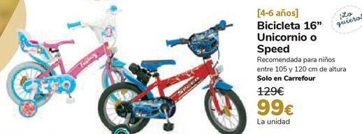 Oferta de Bicicleta 16'' Unicornio o Speed  por 99€