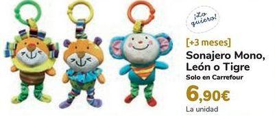 Oferta de Sonajero Mono, León o Tigre por 6,9€