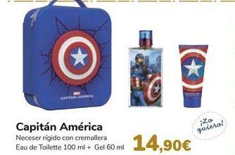 Oferta de Neceser rígido con cremallera Eau de Toilette Capitán América  por 14,9€