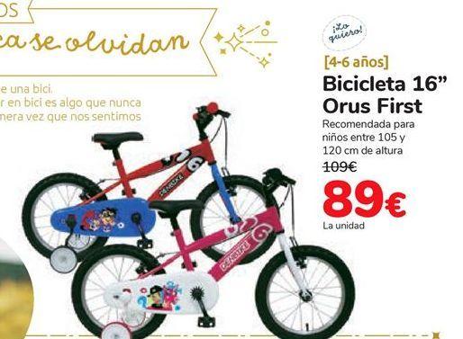 Oferta de Bicicleta 16'' Orus First por 89€