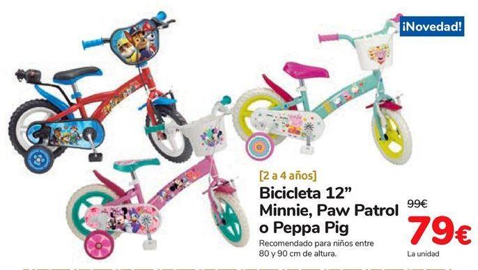 Oferta de Bicicleta 12'' Minnie, Paw Patrol o Peppa Pig  por 79€