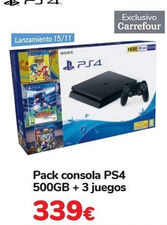 Oferta de Pack consola PS4 500GB + 3 juegos  por 339€