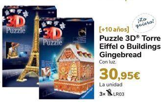 Oferta de Puzzle 3D Torre Eiffiel o Buelding Gingebread  por 30,95€