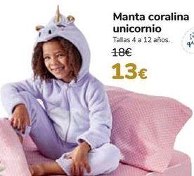 Oferta de Manta coralina unicornio  por 13€