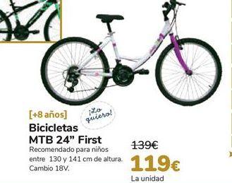Oferta de Bicicletas MTB 24'' First por 119€