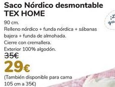 Oferta de Saco Nórdico desmontable TEX HOME  por 29€