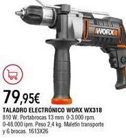 Oferta de Taladro eléctrico worx por 79,95€