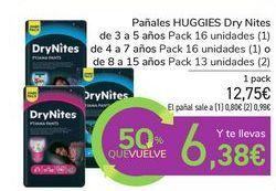 Oferta de Pañales HUGGIES Dry Nites por 12,75€