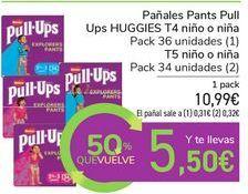 Oferta de Pañales Pants Pull Ups HUGGIES T4 niño o niña por 10,99€