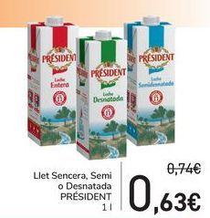 Oferta de Leche entera, semi o deantada PRÉSIDENT  por 0,63€